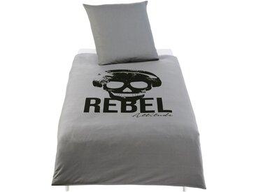 Parure de lit enfant en coton gris anthracite imprimé noir 140x200