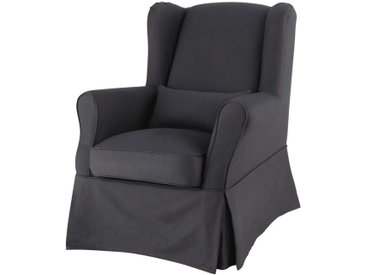 Housse de fauteuil en coton anthracite Cottage