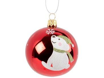 Boule de Noël en verre teinté rouge brillant imprimé ourson