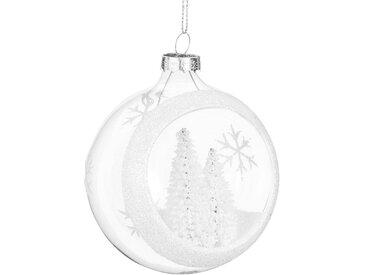 Boule de Noël ouverte en verre et sapins enneigés