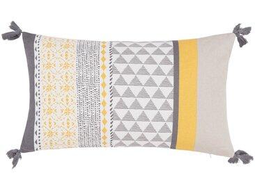 Housse de coussin en coton jaune et gris clair 30x50
