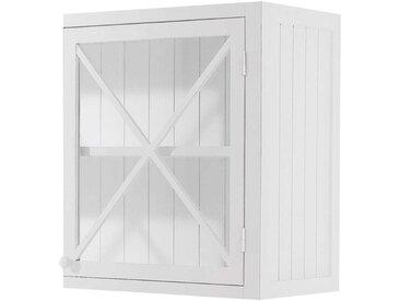 Meuble haut vitré de cuisine ouverture gauche en pin blanc L60 Newport