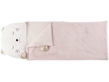 Sac de couchage enfant chat blanc, rose et doré