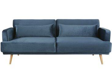 Canapé-lit 3 places en velours bleu Elvis