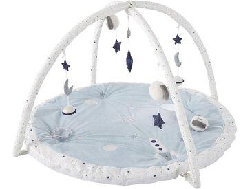 Tapis d'éveil bébé rond écru, blanc et bleu D90