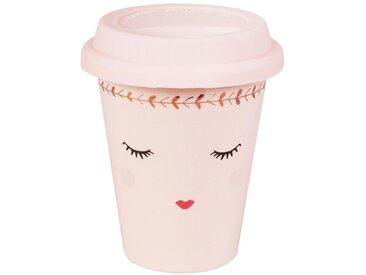 Mug de voyage poupée en porcelaine rose