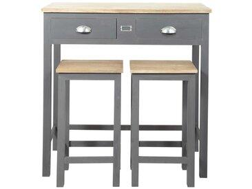 Table haute avec 2 tabourets en chêne et pin gris Chablis