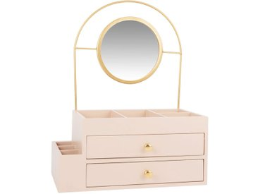 Boîte à bijoux rose en métal doré avec miroir