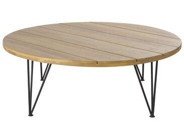 Table basse de jardin en acacia massif et métal noir Caramba