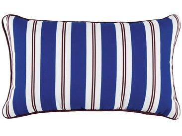 Coussin d'extérieur bleu motifs à rayures bicolores 30x50