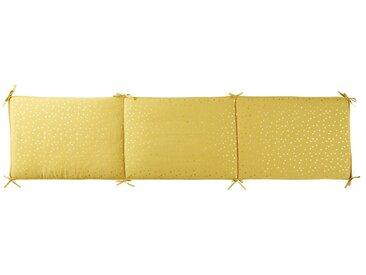 Tour de lit bébé en coton jaune moutarde motifs à pois dorés