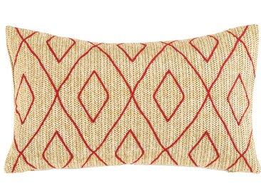 Coussin d'extérieur motifs graphiques rouges 30x50