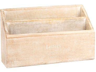 Range-courrier en manguier beige lettrage blanc
