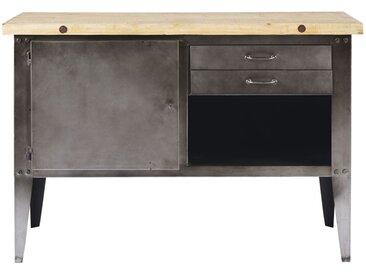 Billot cuisine 2 tiroirs en métal gris et pin recyclé Fulton