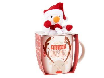Coffret mug en porcelaine blanche et peluche bonhomme de neige