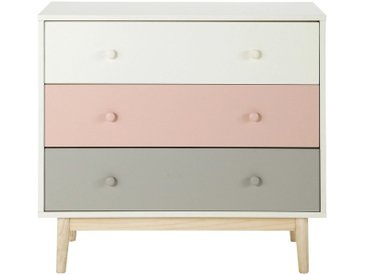 Commode vintage 3 tiroirs blanche, rose et grise Blush