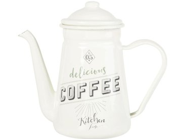 Cafetière en métal blanc imprimé noir