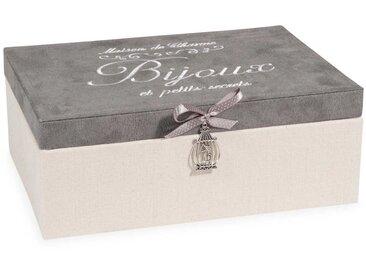 Boîte à bijoux beige et grise