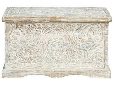 Coffre indien sculpté en manguier massif blanc effet vieilli L 79 cm Masala