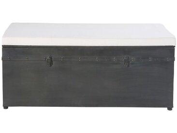 Banquette coffre 3 places en coton écru et métal noir