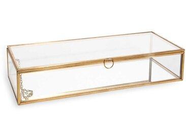 Boîte à bijoux en verre et métal doré