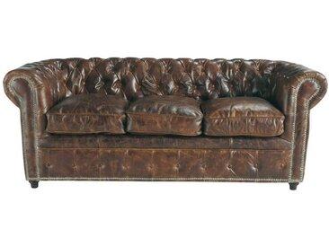 Canapé vintage 3 places en cuir capitonné Chesterfield