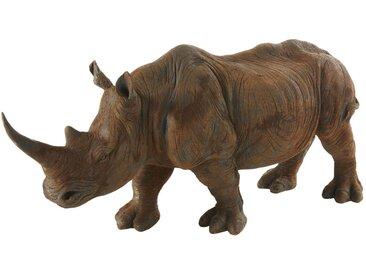 Statue rhinocéros marron vieilli L55