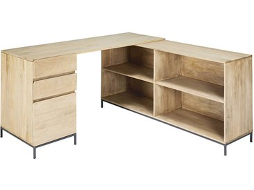 Bureau d'angle 1 porte 2 tiroirs en manguier et métal Wilson