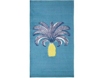 Serviette de plage en coton bleu à motifs 90x180