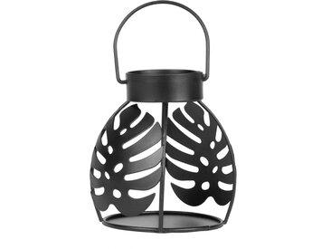 Bougeoir en métal ajouré noir motif feuillage