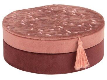 Boîte à bijoux rose à motifs et pompon