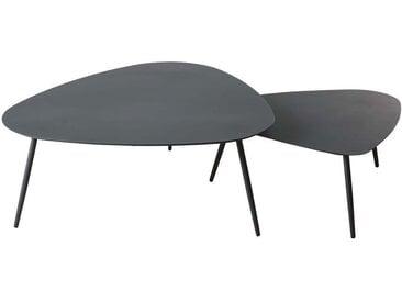 Tables gigognes de jardin en métal gris anthracite mat Humpa