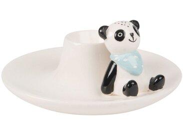 Coquetier panda en faïence noire et blanche