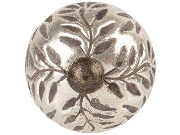 Bouton de porte en métal gravé feuilles