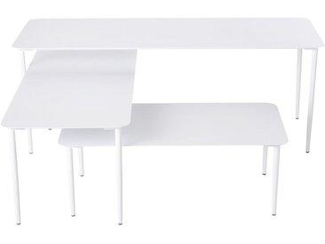 Tables gigognes de jardin en métal blanc mat Holly