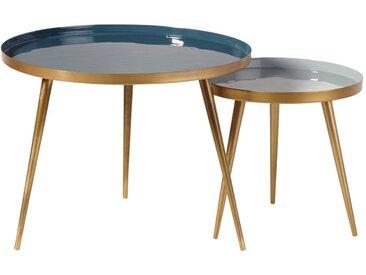Tables gigognes en métal bleu et doré Avril