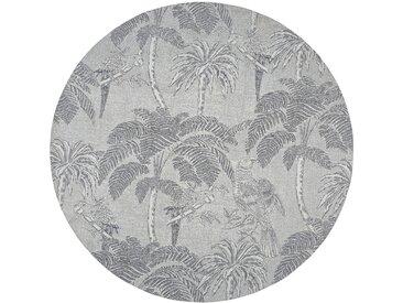 Tapis rond tissé jacquard beige imprimé gris anthracite D200