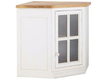 Meuble haut d'angle vitré de cuisine ouverture droite en manguier ivoire L 92 cm Eleonore