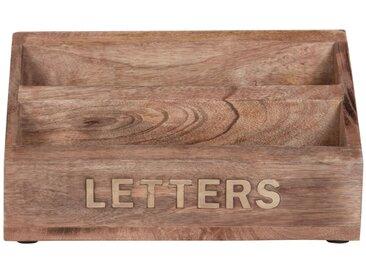 Range-courrier en manguier avec lettres sculptées dorées