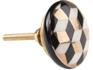 Bouton de porte en métal motifs graphiques