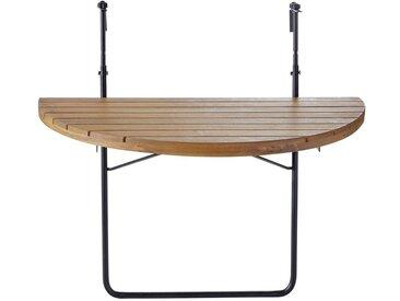 Table de balcon pliable en acacia massif et métal noir L80 Calathea