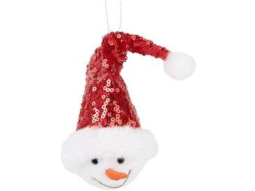 Suspension de Noël bonhomme de neige bonnet rouge