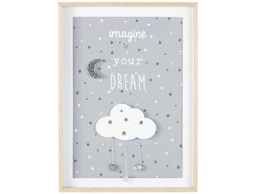 Cadre nuage et étoiles gris et argenté 40x55