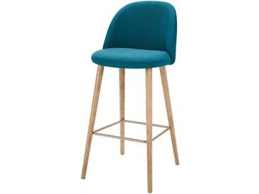 Chaise de bar vintage bleu pétrole et frêne Mauricette