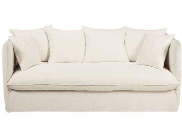 Canapé-lit 3/4 places en lin lavé blanc Louvre