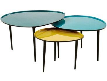 Tables gigognes en métal laqué bleu et jaune Galet