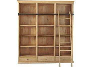Bibliothèque 3 tiroirs avec échelle en manguier Naturaliste