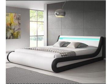 Lit coffre design Parisina – blanc avec noir (180x200cm)