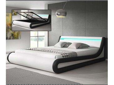 Lit coffre design Parisina – blanc avec noir (160x190cm)