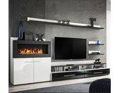 Meuble Mural TV avec cheminée Erica blanc et noir (2,90m)